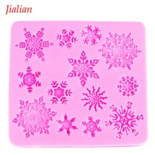 Christmas snowflake Shaped DIY chocolate fondant silicone mould confectionery accessories cupcake decoration Baking tool FT 0026