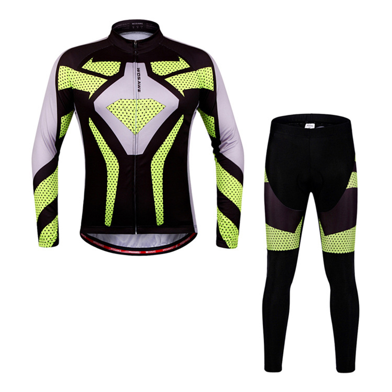 WOSAWE Cycling Jersey Sets Men Spring Autumn Bike Jackets Suits Sets Long Sleeves S-XXL Gel Pad Breathable & Super Elastic women s cycling shorts cycling mountain bike cycling equipment female spring autumn breathable wicking silicone skirt