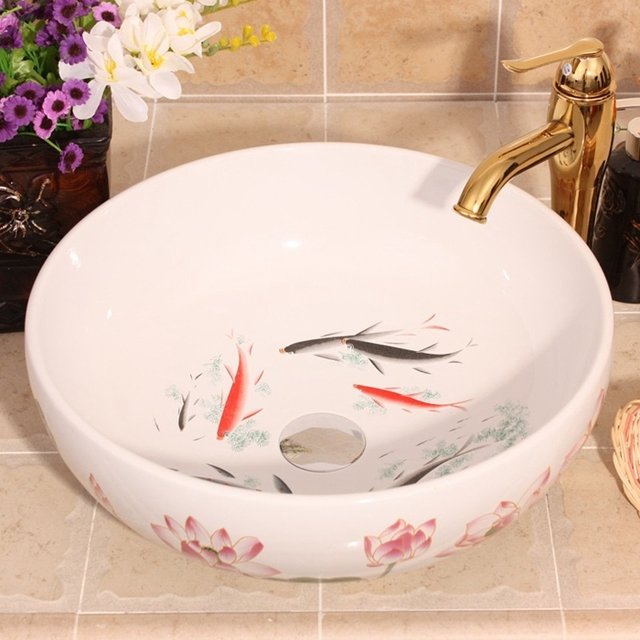 Beautiful China Hand Painted Lotus And Fish Design Porcelain Bathroom Basin  Sink
