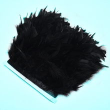 1 Meter/lot black fluffy Turkey feathers trim Fringe 10-15cm Dyed marabou Feather ribbon crafts DIY Party Clothing dress plumes
