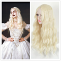 Alice in Wonderland Anime The White Queen Women Long Blonde Curly Hair Cosplay Costume Wig