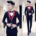Alta calidad casual pure color negro Único Breasted traje de los hombres, chaqueta ocasional, vestido de novia, (Chaquetas + pantalones + chaleco)