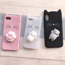 Cases For iphone 7 8 6 6S Plus se with 3D Cute Japan Glitter Bearded Cat Squishy Cat case For iphone xr xs max  Silicone cover