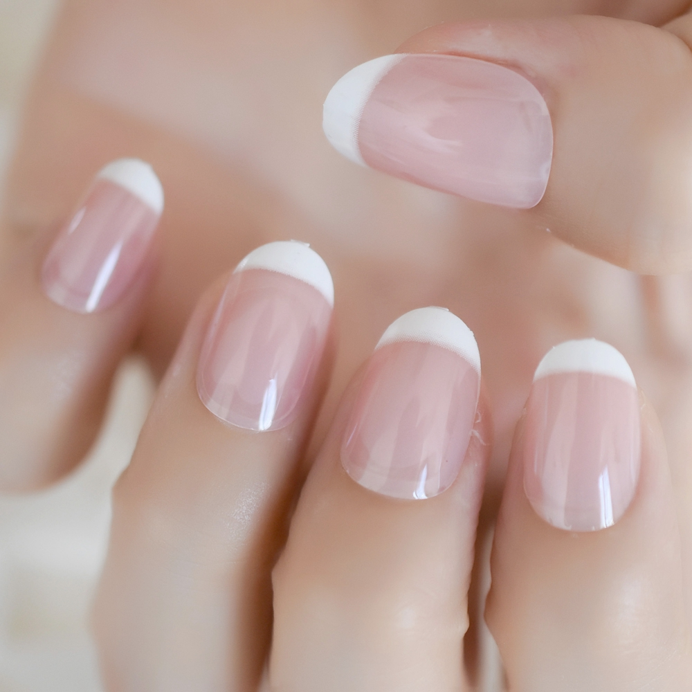 Oval Round White French Fake Nails Natural Clear Pink Pre Design Uv