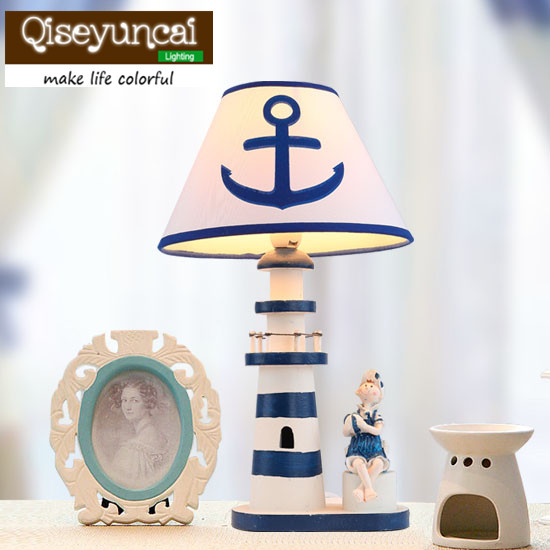 Mediterranean lighthouse, children's room, desk lamp, cartoon decoration, night light, boy bedroom, bedside lamp, dimmable light