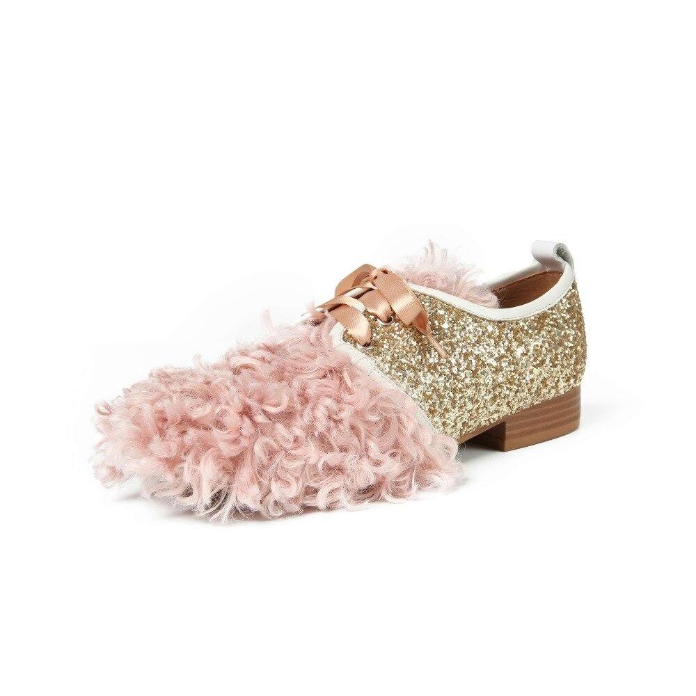 Moda L6f1 Arte Bombas Preppy Dulce Encaje Negro Zapatos Piel Británico Superficial Lentejuelas Diseño De Chicas Tacones Bajos Tachonado rosado Decoración Estilo wnUawOYxq