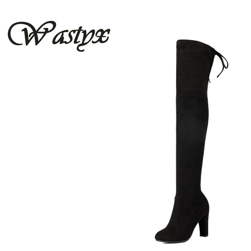 Wastyx new women Boots Sexy over the knee high women snow boots womens fashion winter thigh high boots shoes woman size 34-43