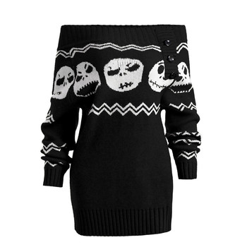 Women's Fashion Long Sleeve Knit Skull Off Shoulder Button Sweater
