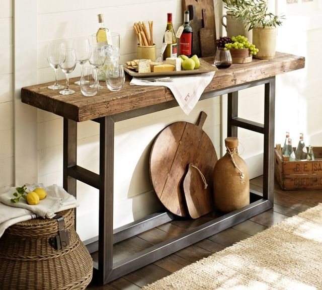 American Retro Wood Console Table Wrought Iron Entrance Hall
