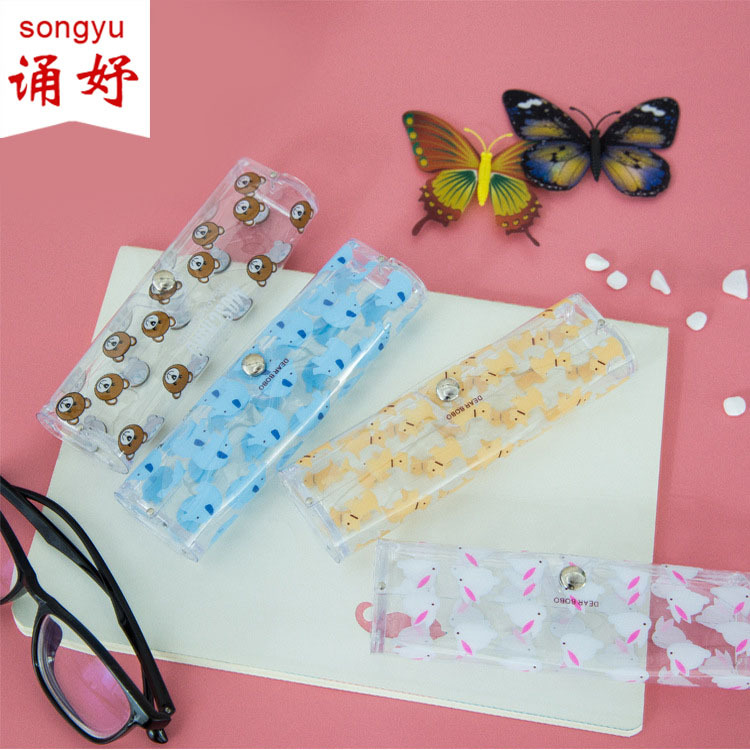 Pencil Cases 1pcs Cartoon Animals Transparent Plastic Eye Glasses Protector Case With Metal Button Sunglasses Box Fruit Animal Pencil Case