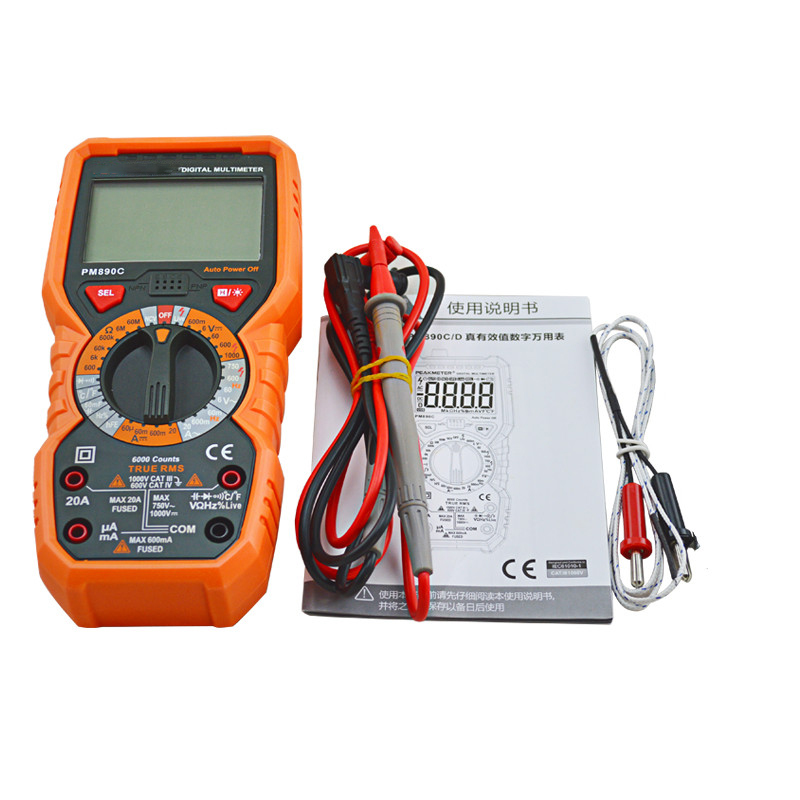 True RMS 6000 Counts Digital Multimeter DC/AC Current Voltage Capacitance Resistance Frequency Temperature hFE NCV Line Tester bside auto range digital clamp meter 6000 counts dc ac 600a 600v resistance capacitance frequency temperature ncv multimeter