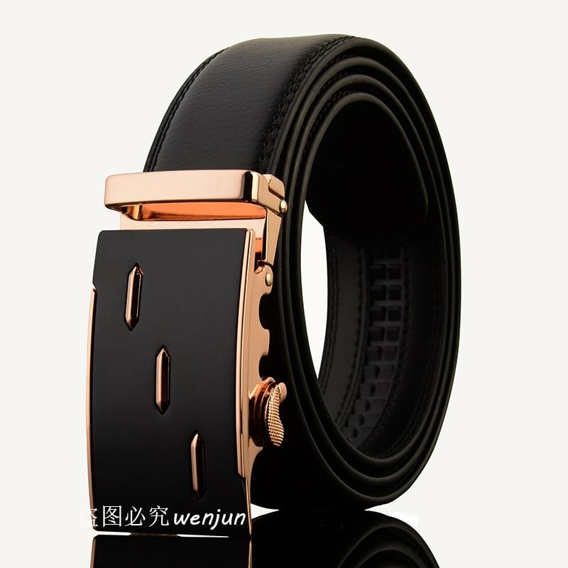 Automatique boucle hommes ceinture en cuir Véritable ceintures 110 cm-130  cm De Luxe ceinture livraison gratuite e9e62323715
