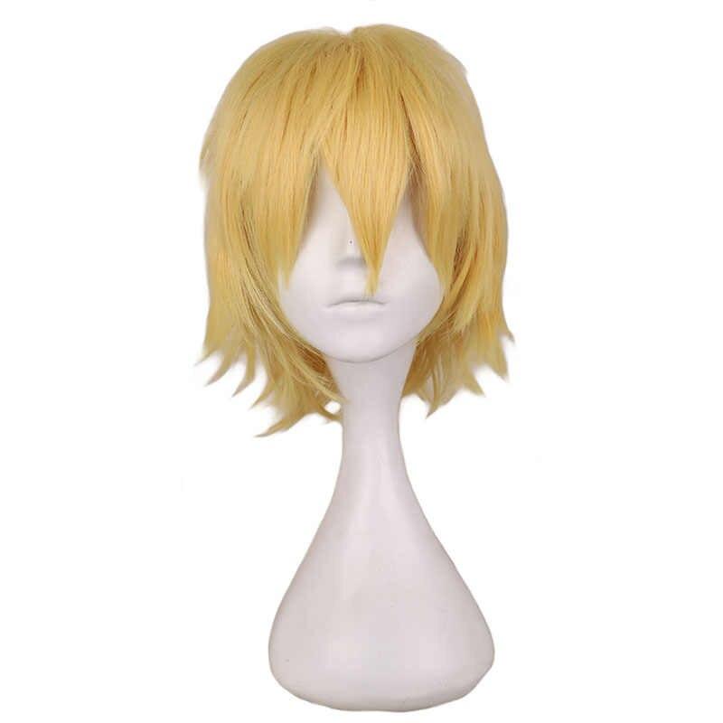 QQXCAIW черный белый фиолетовый красный короткий парик для студенческой вечеринки мужские вечерние 30 см высокотемпературные синтетические волосы парики