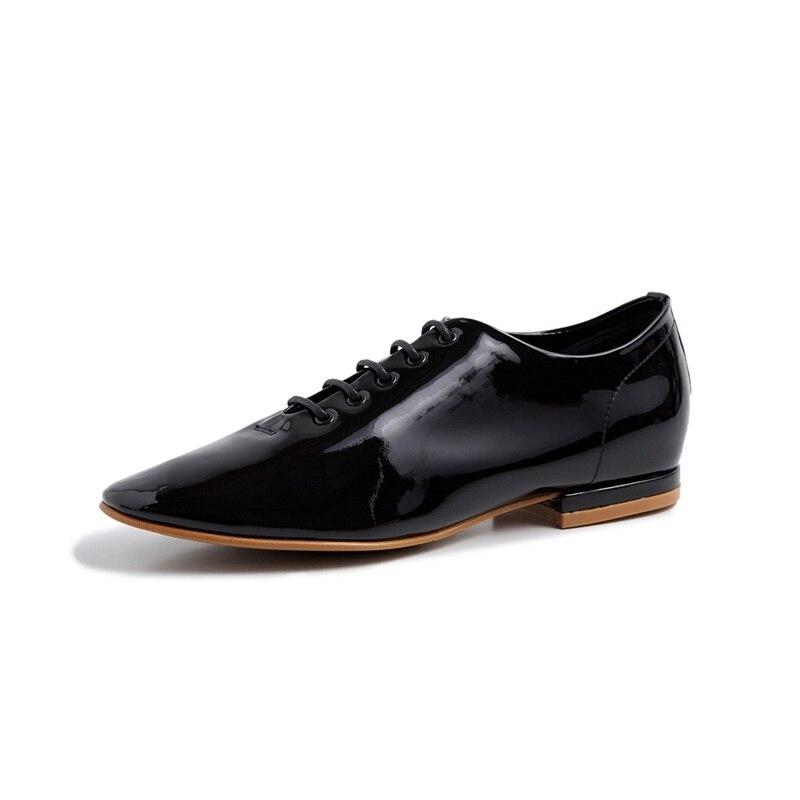 Grande taille printemps été femmes oxfords chaussures décontracté femmes appartements marque chaussures en cuir véritable mocassins à lacets mocassins ballet plat-in Mocassins from Chaussures    2