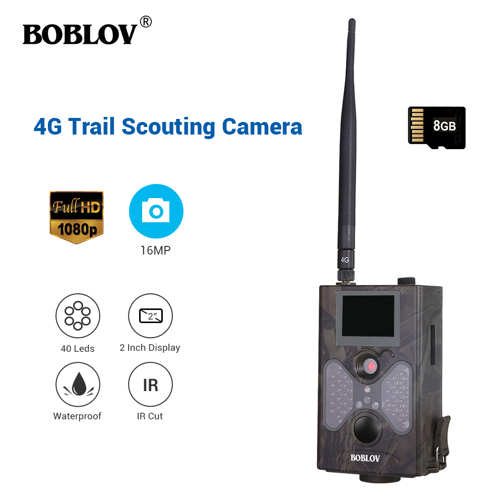 16MP Trail Hunting Cameras 8GB Crad 4G Network SMTP Auto MMS and SMS Command Infrared Wildlife Surveillance Camera IR Photo Trap-in Hunting Cameras from Sports & Entertainment