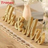 Tronzo Wedding Table Centerpiece Decoration Golden Glitter Mr Mrs Wooden Letter Wedding Marriage Photo Booth Prop