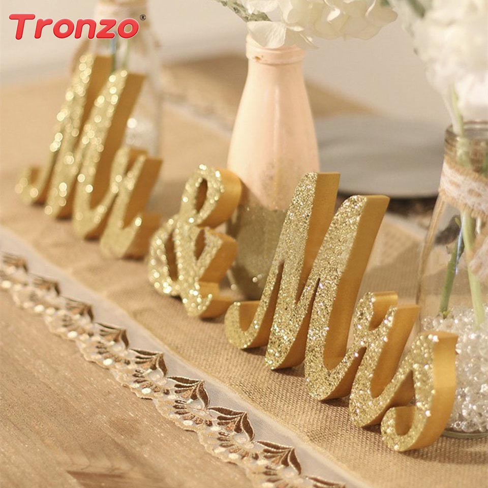 Tronzo Wedding Table Centerpiece Decoration Golden Glitter Mr & Mrs Wooden Letter Wedding Marriage Photo Booth Prop Party Favors ...