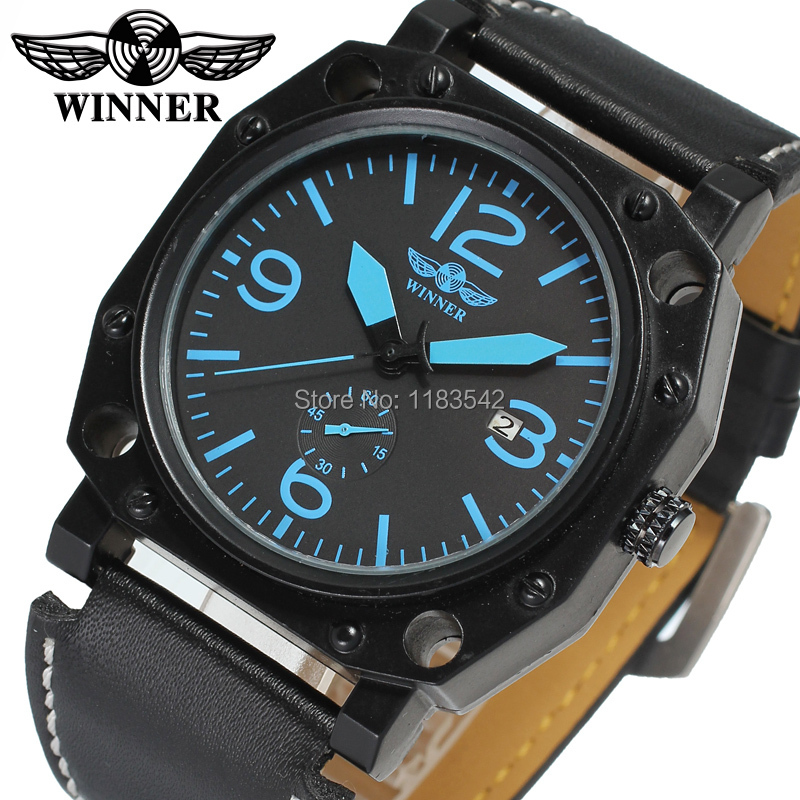 Winner Men s Watch Fashion Autoamtic Leather Crystal Steampunk Analog Classic Band Wristwatch Color Black WRG8065M3B1