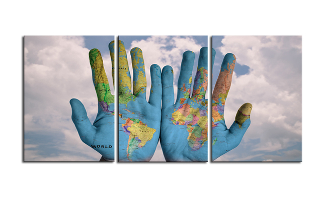 World Map On Hands.World In Your Hands 3 Pieces Hands World Map Poster Canvas Print