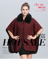 Faux Fur Poncho autumn and winter new loose woolen collars plus velvet knitted cardigan women's woolen shawl average size