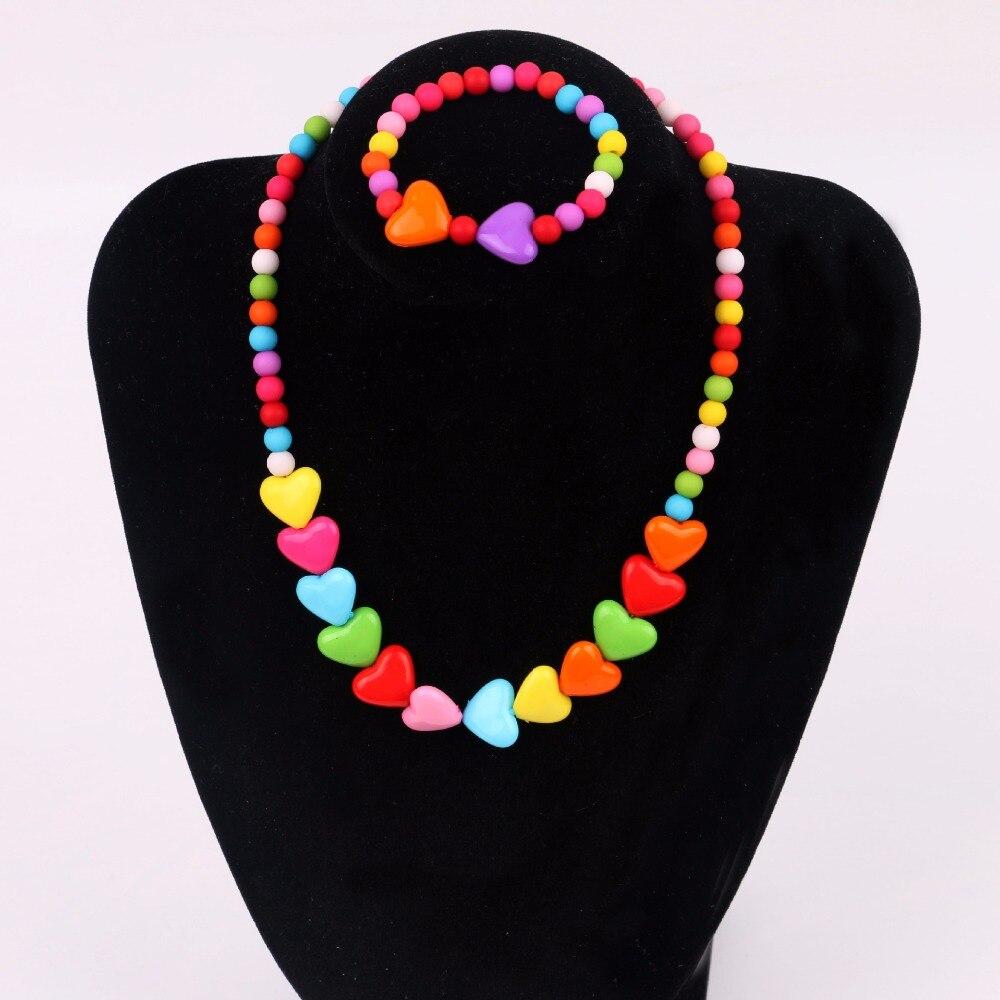 HappyKiss  1SET  Fashion children's accessories beaded peach heart child necklace peach heart bracelet baby girls jewelry