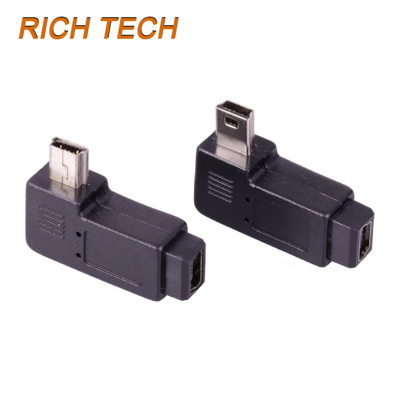15 pcs 90 degree turn left/turn right mini usb 5pin male plug to female connector MINI usb male to usb female adapter