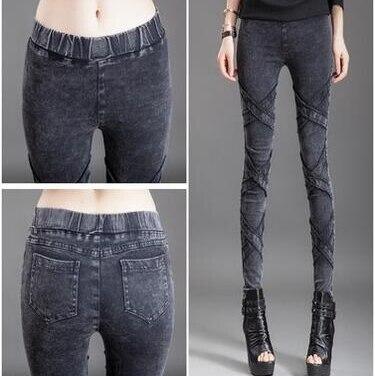 #3216 2016 Skinny jeans femme Fashion Black ripped jeans Plus size jeans XXXXXL Slim Ladies jeans Destroyed women trousers