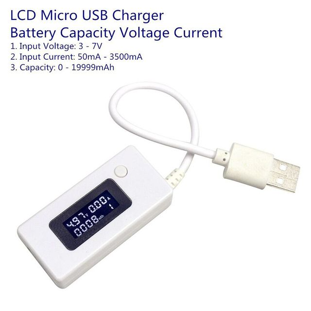 New Arrival LCD Micro USB Charger Battery Capacity Voltage Current Tester Meter Detector for Smartphone Mobile Power Bank