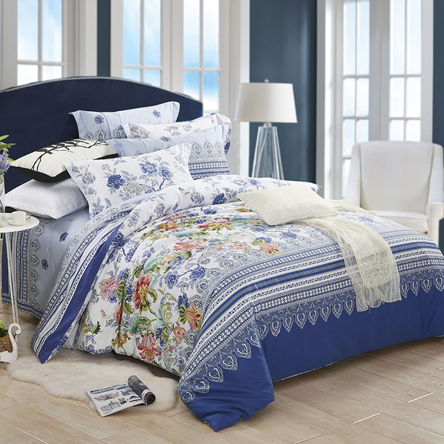 Floral And Striped Bedding Set Queen King Size Duvet Cover Bed