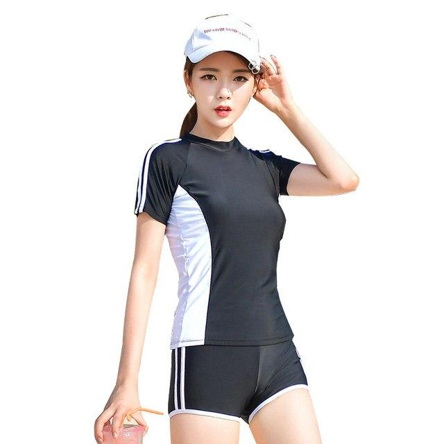 cb81b9ea48f Women's Swimming Suit Short Sleeve T-Shirt Swimming Shorts Slimming Bathing  Suit Beach Sports Suit Swimsuit Two-Piece Swimwear