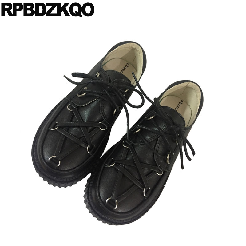 44edd76bc elevator japanese flats creepers platform lace up muffin designer shoes  women luxury 2018 metal thick sole black large size