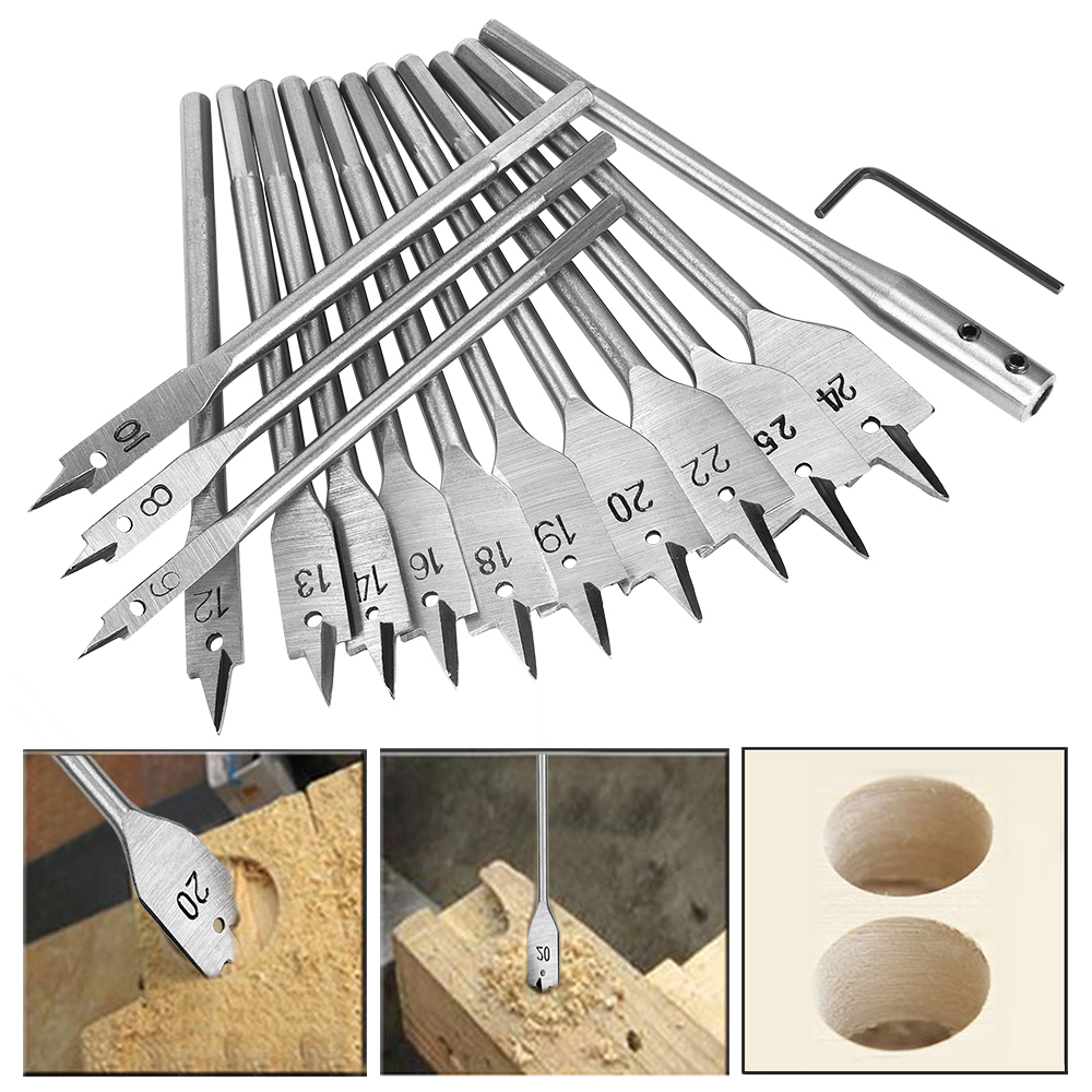 15pcs Spade Flat Wood Drill Bit Set Full Steel Hex Shank For Metal 6-25mm High Speed Steel Wood Drilling Power Tools Kit