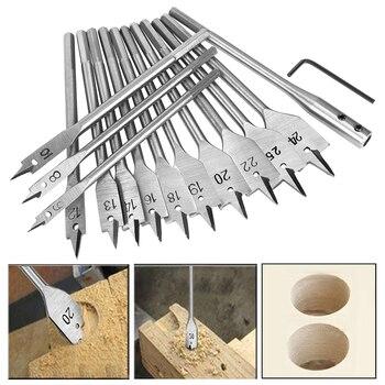 цена на 15pcs Spade Flat Wood Drill Bit Set Full Steel Hex Shank for Metal 6-25mm High Speed Steel Wood Drilling Power Tools Kit