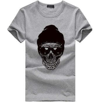 Eyeglasses Skull Print Mens T Shirt Casual Round Neck Short Sleeve