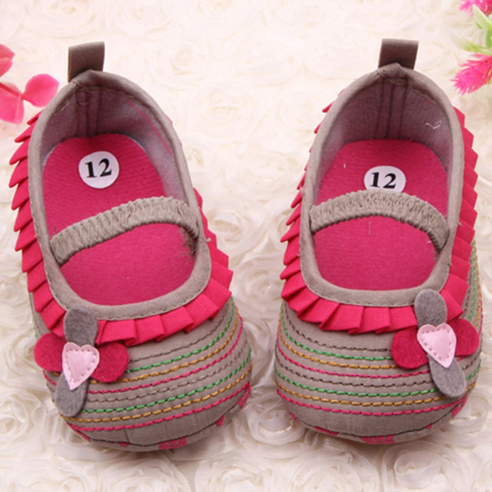 0-12M Sweet Newborn Baby Girls Flower Ruffled Shoes Toddler Soft Bottom Kids Crib First Walkers Hot