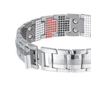 Image 3 - LITTLE FROG Men Jewelry Healing magnetic Bangle Balance Health Bracelet Silver Titanium Bracelets Special Design for Male 10212