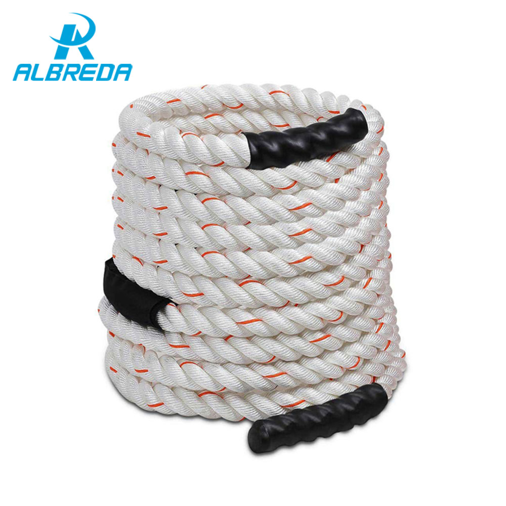 ALBREDA 1.5x50' Poly Dacron Power Training Rope Battle Ropes Gym Workout Rope fitness training 50ft sports exercise 15m*38mm fitness crossfit skipping ropes speed jump rope jump tpu skipping rope handle gym training sports exercise for free shipping