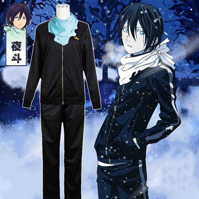 Anime Noragami Yato Cosplay Costume Daily Sportswear Whole Set ( Jacket + Pants + Scarf )