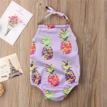 Детская одежда для купания для девочек, детское бикини без рукавов для маленьких девочек, пляжный Цельный купальник, детский купальник с ананасом на бретельках, A1