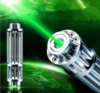SOS NEW green laser pointers 100000m 532nm LAZER high power camping signal lamp burn match candle lit cigarette wicked+5 caps