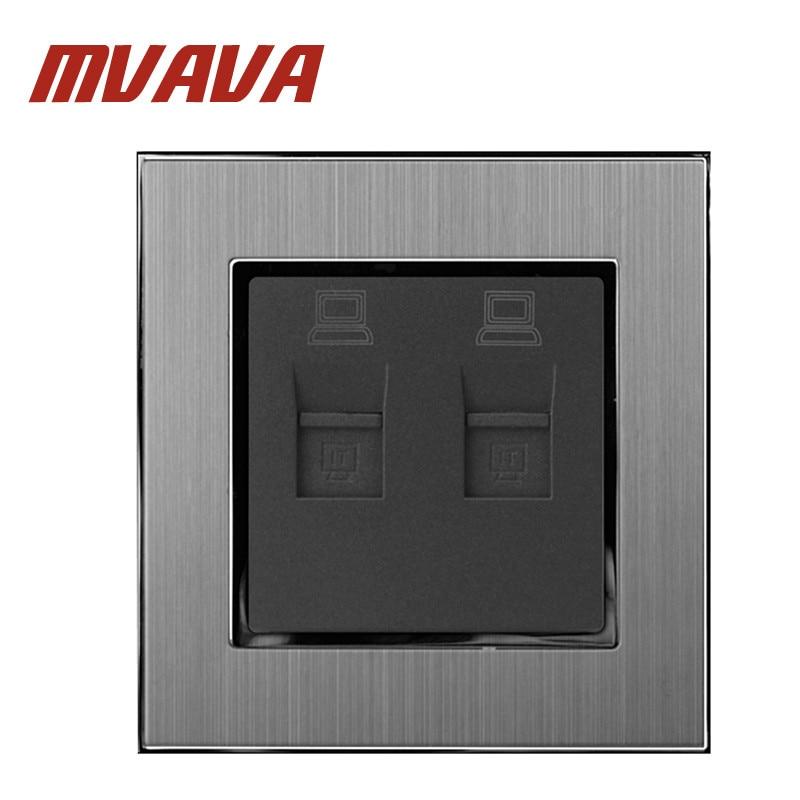 MVAVA RJ45 Double DATA Socket 110-250V Satin Metal Frame NET Lan Cable Net Jack Plug Port PC Wall
