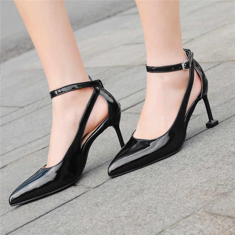 Ymechic Ремешок на щиколотке на высоком каблуке; туфли-лодочки для офиса женские острый носок плюс Размеры белые черные пикантные открытые женские туфли на туфли-лодочки из лакированной кожи Для женщин