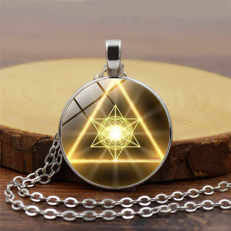 Fashion dazzling gold sacred geometry cabochon glass Tibet silver chain pendant necklace mysterious bohemian style jewelry gift