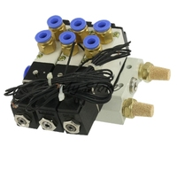 DC12 DC24 AC110 AC220 2 Positions Triple Solenoid Valve Mufflers 6mm Quick Fittings Base Set 4V110-06
