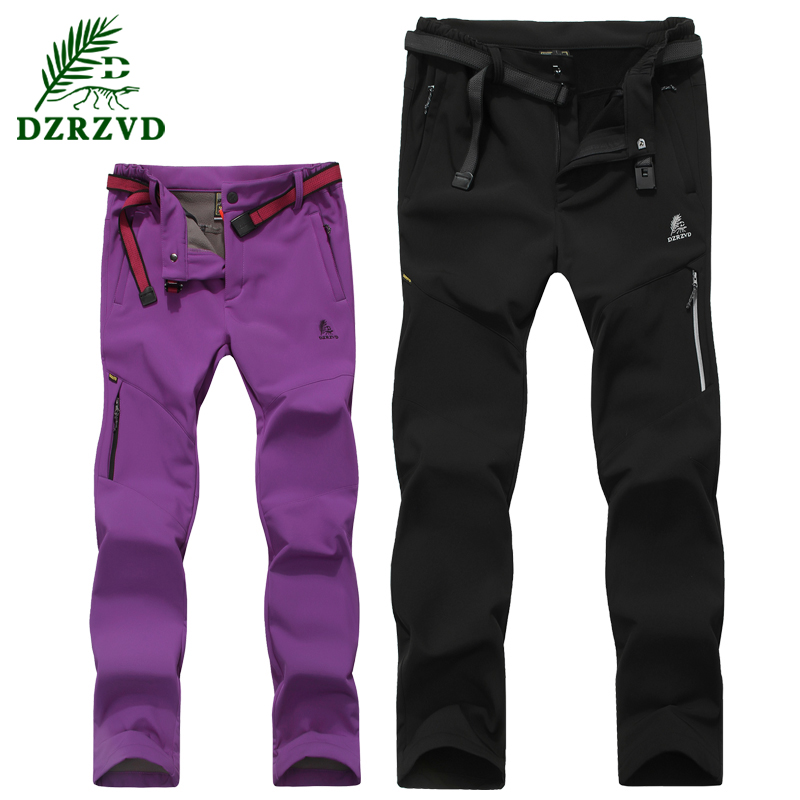 ФОТО Winter Soft Shell men&women Outdoor pant  Design Thickening Thermal Warm Fleece Daily Waterproof Windproof Camping Hiking Pants