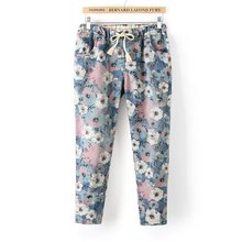 summer new women jeans large size printing elastic waist large size denim pants femme