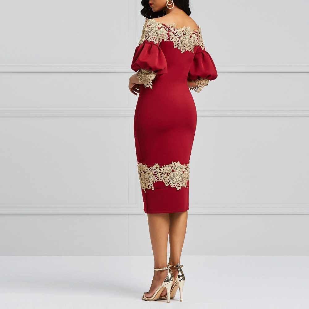 a9e4be0c029b ... Sisjuly Evening Party Vintage Burgundy Off Shoulder Bodycon Dress Women  Spring Summer Applique Embroidery Lace Wine ...