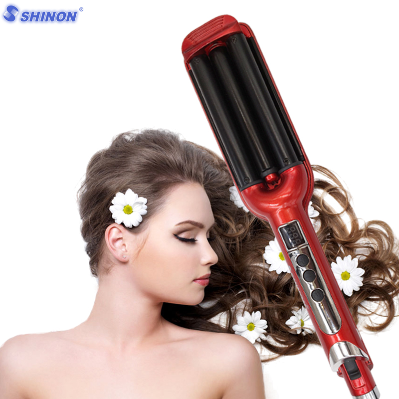 Sale 3 Barrels LCD Display Rollers Ceramic Curling Iron Hair Waver Iron Curling Wave Hair Curler Hair Wand Rollers Freeshipping perm splint automatic ceramic hair curler 3 barrels big hair wave waver curling iron hair curlers rollers styling tools et 76