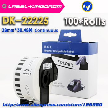 100 Rolls Compatible DK-22225 Label 38mm*30.48M Continuous Compatible  Brother Printer QL-570/700 All Come With Plastic Holder