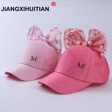 Роскошная модная летняя детская бейсбольная кепка с большим бантом, цвет черный, белый, розовый, с цветочными ушками, Детские летние шапочки с жемчугом, сетчатая Кепка принцессы